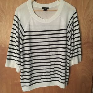 H&M Half Sleeve White & Blue Striped Sweater